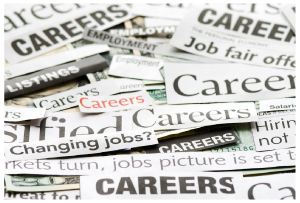 Image of newspaper clippings, all related to careers