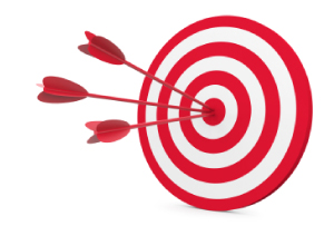 Picture of a dartboard with 3 bulls-eye hits