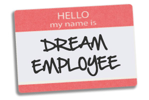 "Delegate sticker, with ""Hello, my name is: Dream Employee"" on it"