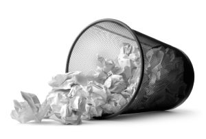 Image of a waste-paper basket, tipped on its side