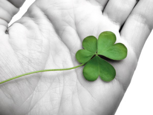 Image of someone holding a lucky shamrock in their hand