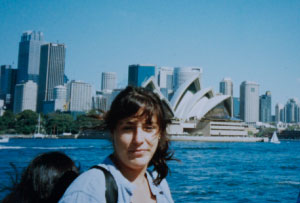 Photo of the author - Karen Bremner - on her first visit to Sydney, in 1998