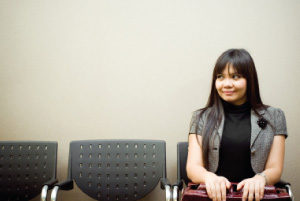 Woman waiting for a job interview