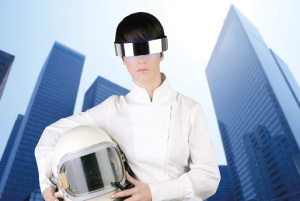 Futuristic photo of a space-age woman, as a metaphor for changing career futures